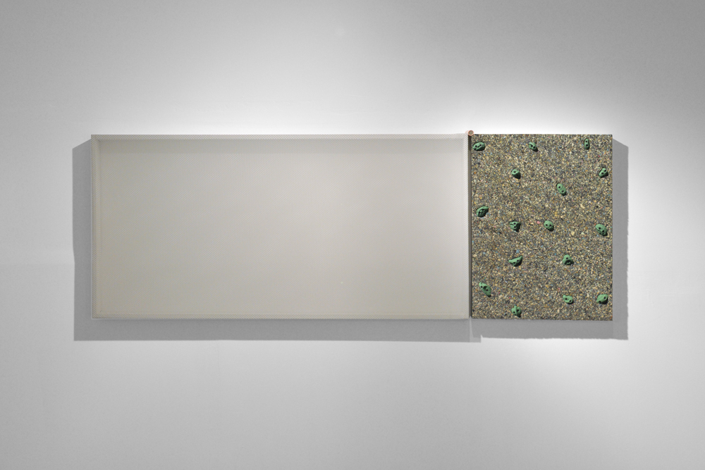 horizon line diptych___________stretched mesh, foam, rock climbing holds on panel, coins